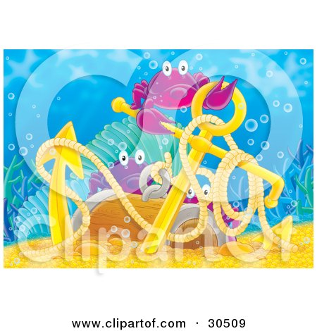 Clipart Illustration of Three Purple Sea Crabs Playing In Golden Treasure And On An Anchor by Alex Bannykh