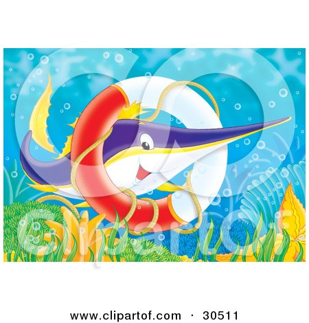 Clipart Illustration of a Purple, Yellow And White Swordfish Swimming Through A Sunken Life Saver Ring by Alex Bannykh
