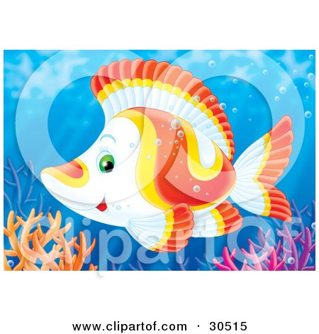 Clipart Illustration of a White, Yellow And Orange Tropical Fish Swimming Over Colorful Reef Corals by Alex Bannykh