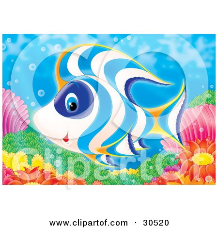Clipart Illustration of a White, Blue And Orange Tropical Fish Swimming Over Corals And Anemones On A Reef by Alex Bannykh