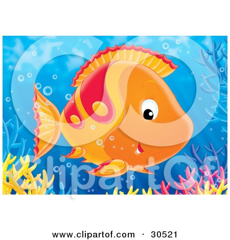 Clipart Illustration of a Friendly Orange And Red Fish Swimming Near A Reef by Alex Bannykh