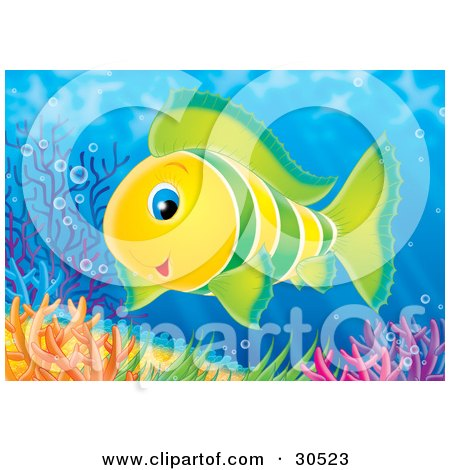 Clipart Illustration of a Friendly Green And Yellow Tropical Fish Swimming Near Colorful Corals by Alex Bannykh