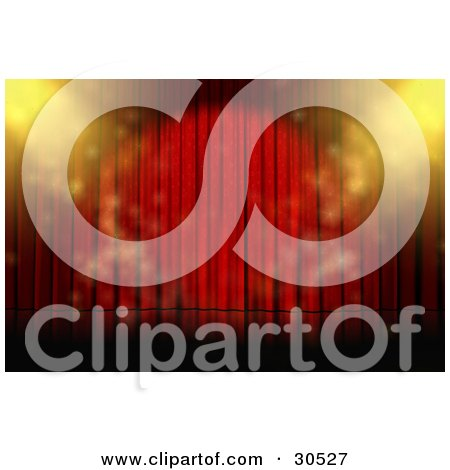 Clipart Illustration of Yellow Spotlights And Star Patterns Sparkling On An Empty Stage With Closed Red Curtains by Frog974