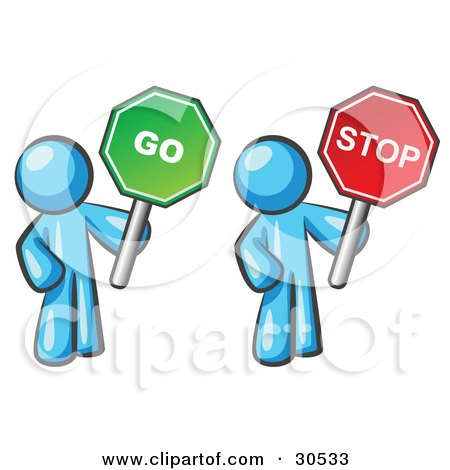 Clipart Illustration of Light Blue Men Holding Red And Green Stop And Go Signs by Leo Blanchette