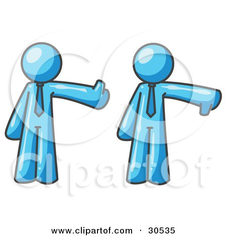 Clipart Illustration of a Light Blue Business Man Giving the Thumbs Up Then the Thumbs Down by Leo Blanchette