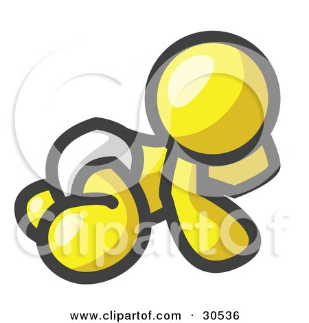 Clipart Illustration of a Yellow Baby In A Diaper, Crawling On The Floor, On A White Background by Leo Blanchette