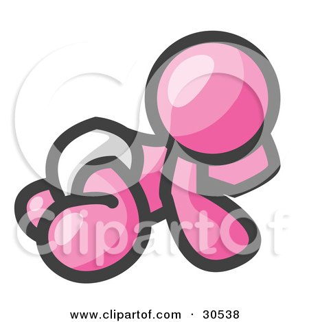 Clipart Illustration of a Pink Baby In A Diaper, Crawling On The Floor, On A White Background by Leo Blanchette