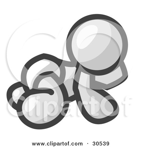 Clipart Illustration of a White Baby In A Diaper, Crawling On The Floor, On A White Background by Leo Blanchette