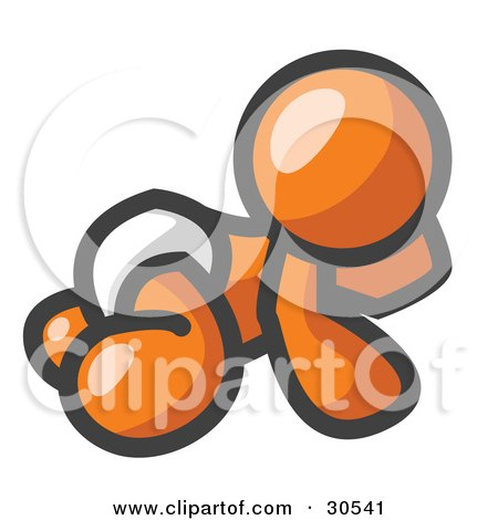 Clipart Illustration of an Orange Baby In A Diaper, Crawling On The Floor, On A White Background by Leo Blanchette