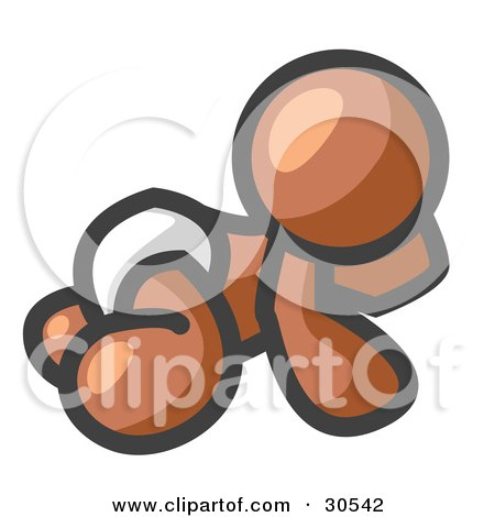 Clipart Illustration of a Brown Baby In A Diaper, Crawling On The Floor, On A White Background by Leo Blanchette