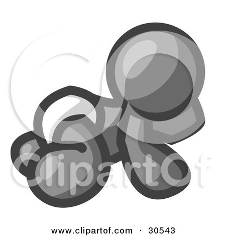 Clipart Illustration of a Gray Baby In A Diaper, Crawling On The Floor, On A White Background by Leo Blanchette