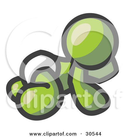 Clipart Illustration of an Olive Green Baby In A Diaper, Crawling On The Floor, On A White Background by Leo Blanchette
