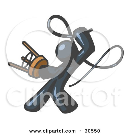 Clipart Illustration of a Navy Blue Tamer Man Holding A Stool And Cracking A Whip, On A White Background by Leo Blanchette