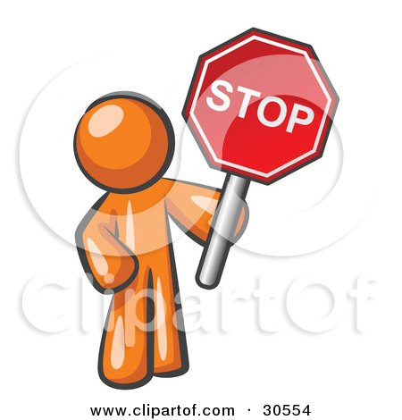 Clipart Illustration of an Orange Man Holding a Red Stop Sign by Leo Blanchette