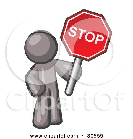 Clipart Illustration of a Gray Man Holding a Red Stop Sign by Leo Blanchette