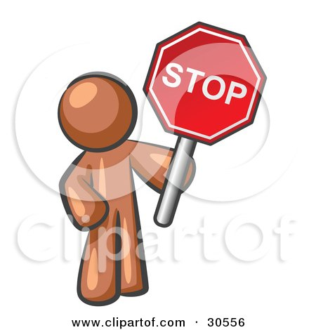 Clipart Illustration of a Brown Man Holding a Red Stop Sign by Leo Blanchette