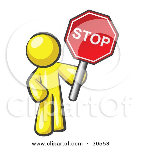 Clipart Illustration of a Yellow Man Holding a Red Stop Sign by Leo Blanchette