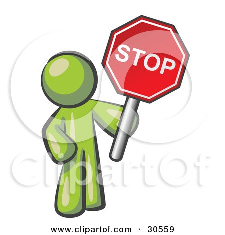 Clipart Illustration of an Olive Green Man Holding a Red Stop Sign by Leo Blanchette