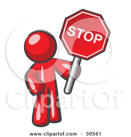 Clipart Illustration of a Red Man Holding a Red Stop Sign by Leo Blanchette