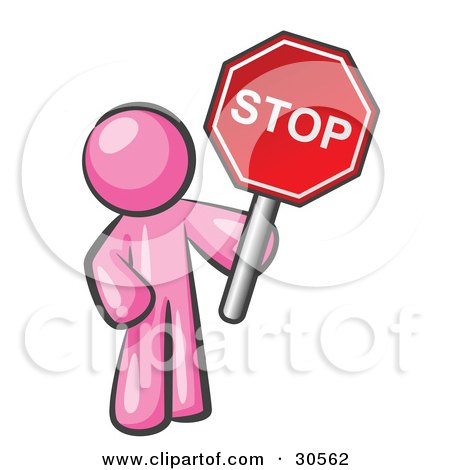 Clipart Illustration of a Pink Man Holding a Red Stop Sign by Leo Blanchette