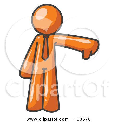 Clipart Illustration of an Orange Business Man Giving the Thumbs Up Then the Thumbs Down  by Leo Blanchette