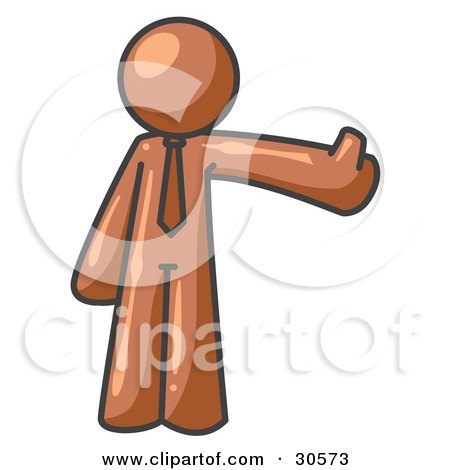 Clipart Illustration of a Brown Business Man Giving the Thumbs Up by Leo Blanchette