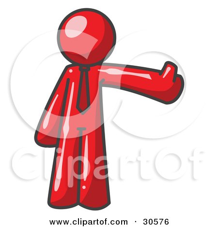 Clipart Illustration of a Red Business Man Giving the Thumbs Up by Leo Blanchette