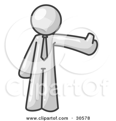 Clipart Illustration of a White Business Man Giving the Thumbs Up by Leo Blanchette