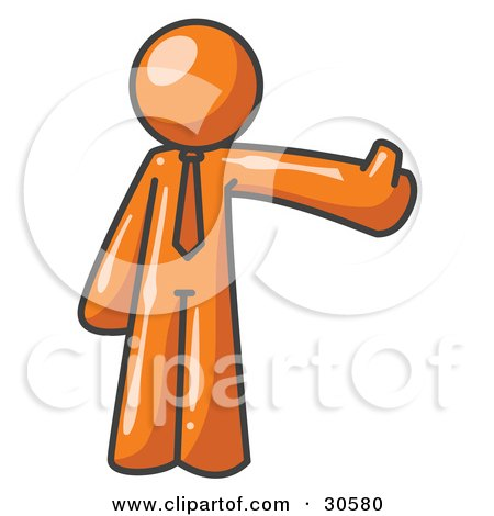 Clipart Illustration of an Orange Business Man Giving the Thumbs Up by Leo Blanchette