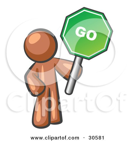 Clipart Illustration of a Brown Man Holding Up A Green Go Sign, On A White Background by Leo Blanchette