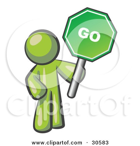 Clipart Illustration of an Olive Green Man Holding Up A Green Go Sign, On A White Background by Leo Blanchette