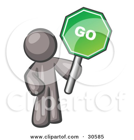 Clipart Illustration of a Gray Man Holding Up A Green Go Sign, On A White Background by Leo Blanchette