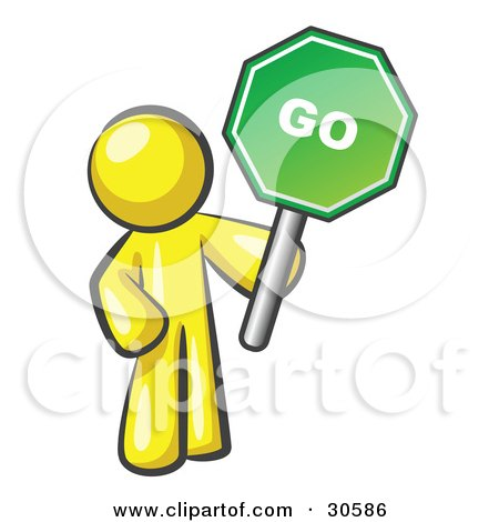 Clipart Illustration of a Yellow Man Holding Up A Green Go Sign, On A White Background by Leo Blanchette