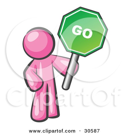 Clipart Illustration of a Pink Man Holding Up A Green Go Sign, On A White Background by Leo Blanchette