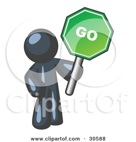 Clipart Illustration of a Navy Blue Man Holding Up A Green Go Sign, On A White Background by Leo Blanchette