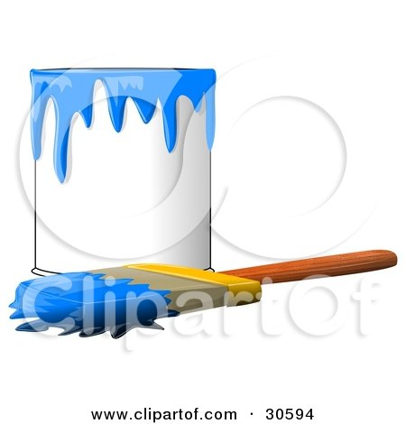 Clipart Illustration of a Wood Handled Paintbrush With Blue Paint On The Bristles, Resting In Front Of A Can Of Blue Paint by djart