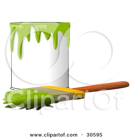 Clipart Illustration of a Wood Handled Paintbrush With Green Paint On The Bristles, Resting In Front Of A Can Of Green Paint by djart