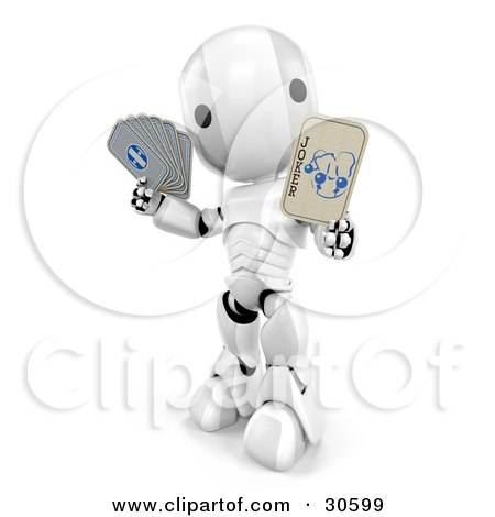 Silver And White AO-Maru Robot Holding A Joker Playing Card Posters, Art Prints