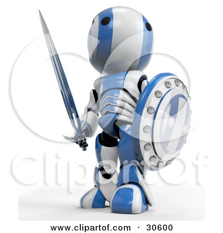 Clipart Illustration of a Blue AO-Maru Robot Warrior Looking Off And Standing With A Shield And Sword by Leo Blanchette