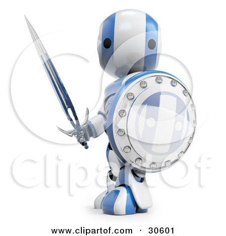 Clipart Illustration of a Blue AO-Maru Robot Protecting With A Shield And Sword by Leo Blanchette