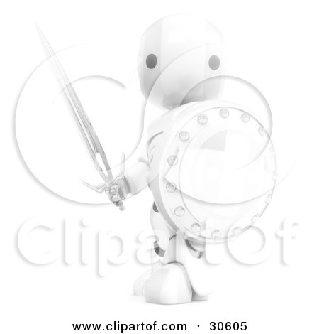 Clipart Illustration of a Brightly Glowing White AO-Maru Robot Holding A Sword And Shield by Leo Blanchette
