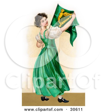 Clipart Illustration of a Vintage Victorian St Patrick's Day Scene Of A Patriotic Young Irish Lady Wearing A Green Dress, Holding An Irish Flag, Circa 1907 by OldPixels