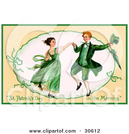 Clipart Illustration of a Vintage Victorian St Patrick's Day Scene Of A Happy Young Irish Couple Dressed In Green And Dancing, Circa 1909 by OldPixels