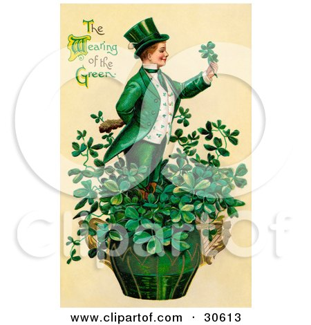 Clipart Illustration of a Vintage Victorian St Patrick's Day Scene Of A Leprechaun Or Isirh Man Standing In A Pot Of Shamrocks, Holding A Clover, Circa 1910 by OldPixels