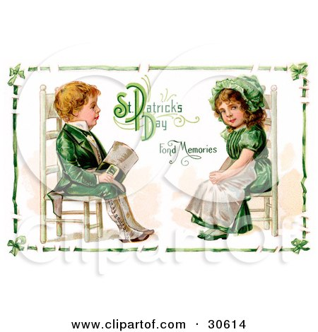 Clipart Illustration of a Vintage Victorian St Patrick's Day Scene Of An Irish Boy And Girl Dressed In Green And Sitting In Chairs Across From Each Other, Circa 1911 by OldPixels