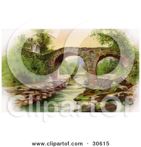 Clipart Illustration of a Vintage Victorian St Patrick's Day Scene Of Irelands Old Weir Bridge In Killarney, Circa 1910 by OldPixels