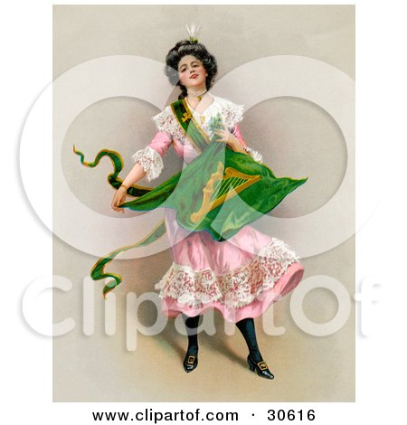 Clipart Illustration of a Vintage Victorian St Patrick's Day Scene Of A Young Lady In A Pink Dress, Holding The Traditional Irish Flag, Circa 1903 by OldPixels