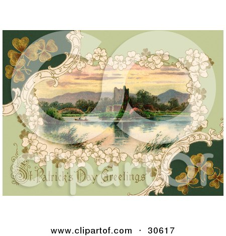 Clipart Illustration of a Vintage Victorian St Patrick's Day Scene Of Clovers Around Ross Castle In Killarney, Ireland, Circa 1913 by OldPixels