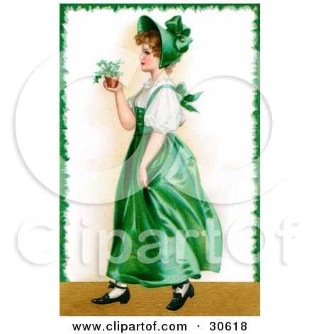 Clipart Illustration of a Vintage Victorian St Patrick's Day Scene Of A Young Irish Lady In A Green Dress And Bonnet, Carrying A Small Plant, Circa 1907 by OldPixels