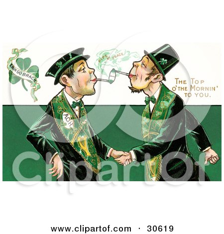 Clipart Illustration of a Vintage Victorian St Patrick's Day Scene Of Two Friendly Irish Men Dressed In Green, Touching Tobacco Pipes And Shaking Hands, Circa 1910 by OldPixels